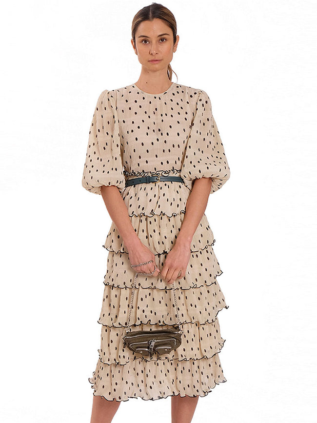LAYERED PLEAT POLKA DRESS