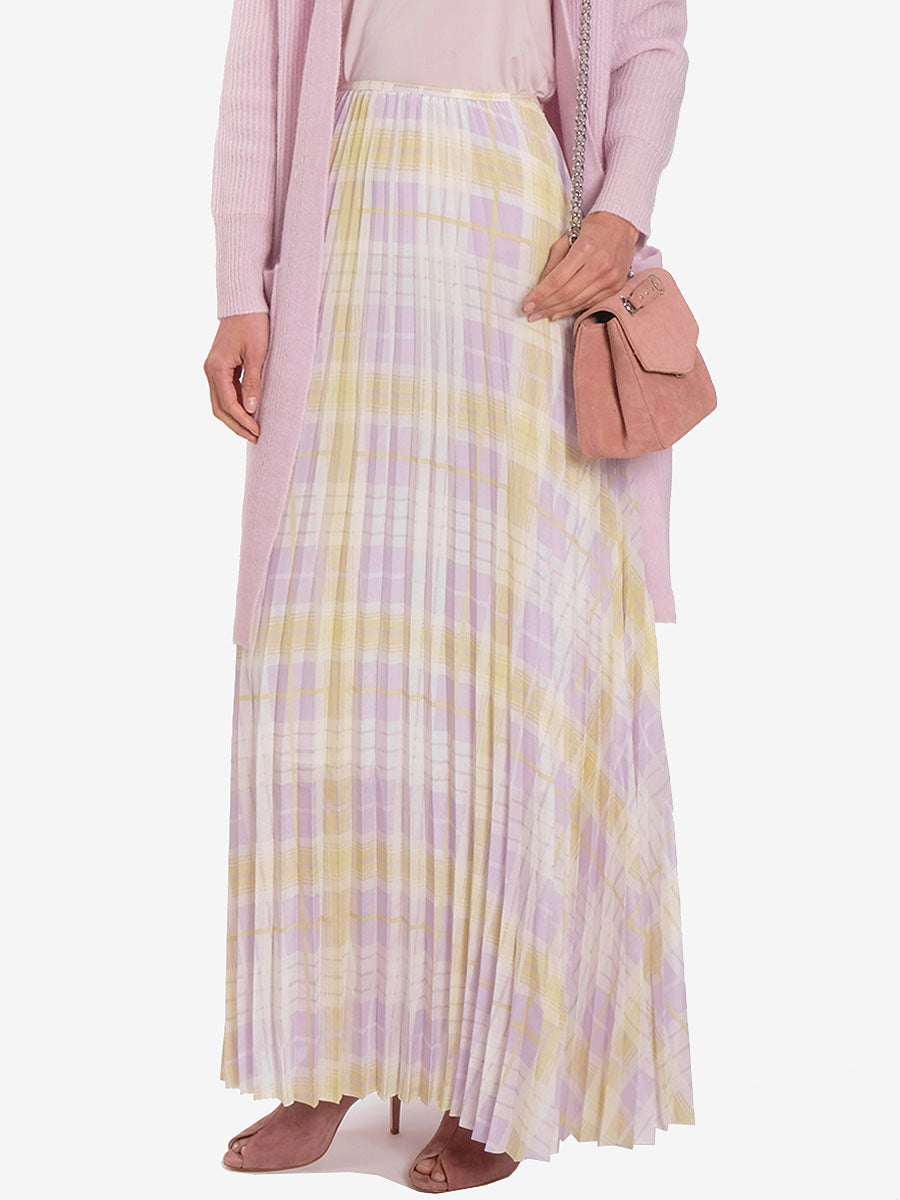 JULIETTE PLEATED CHECK MAXI SKIRT