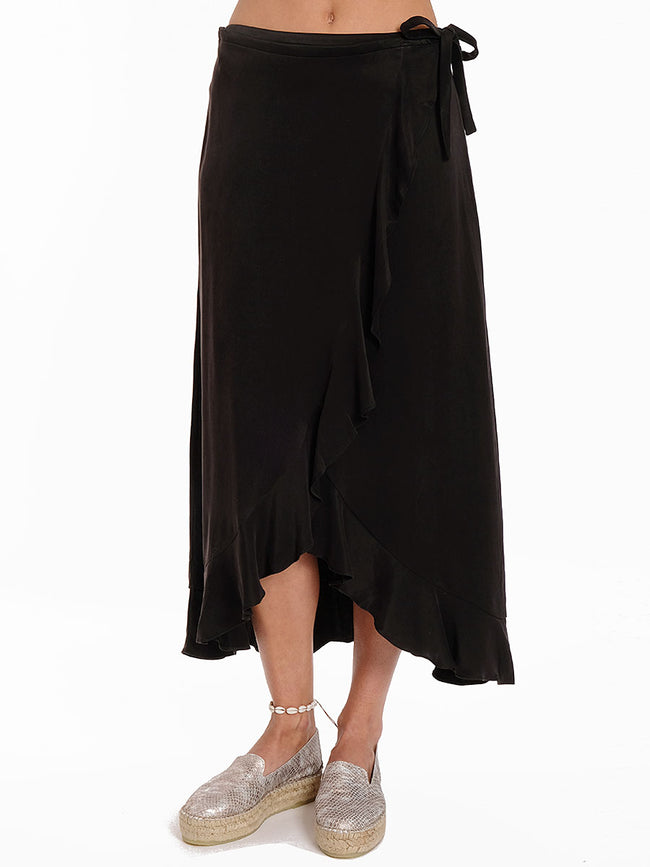 LIMON LUXE CUPRO WRAP SKIRT