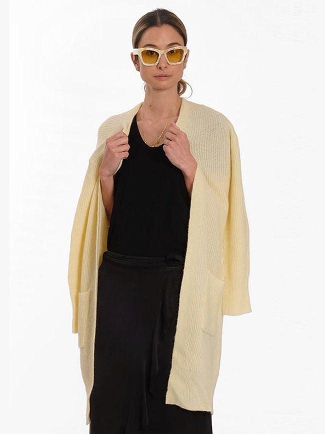 CILLE2 OPEN CARDIGAN - YELLOW