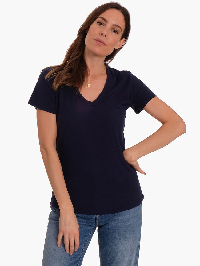 ANY2 SCOOP NECK TSHIRT - DRESS BLUES