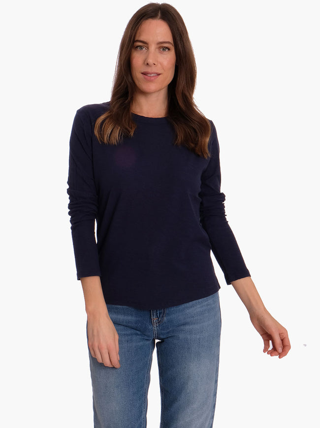 ANY3 LONG SLEEVE CREW NECK T - DRESS BLUES