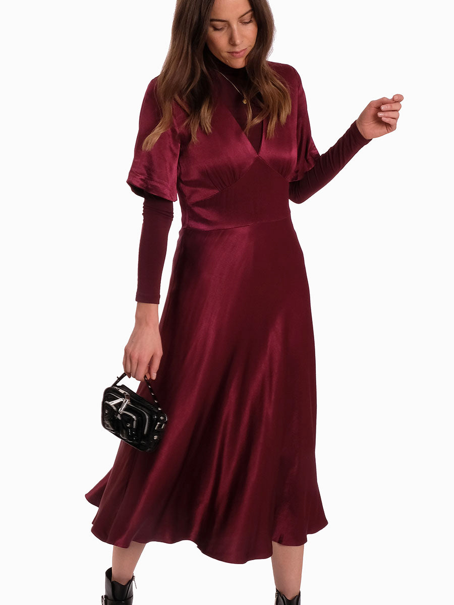 CINDY SATIN MIDI DRESS - RHODODENDRON