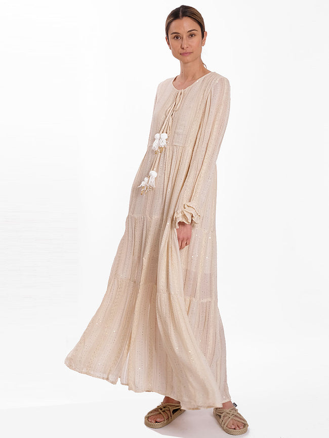 NEO LAYERED TIE FRONT MAXI DRESS