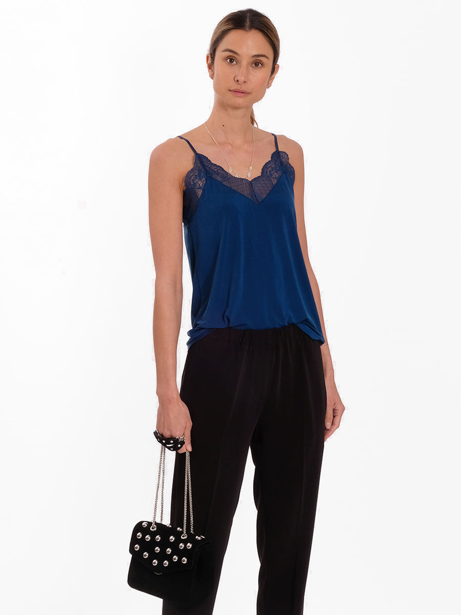 LINDA LUXE LACE CAMISOLE - ROYAL BLUE