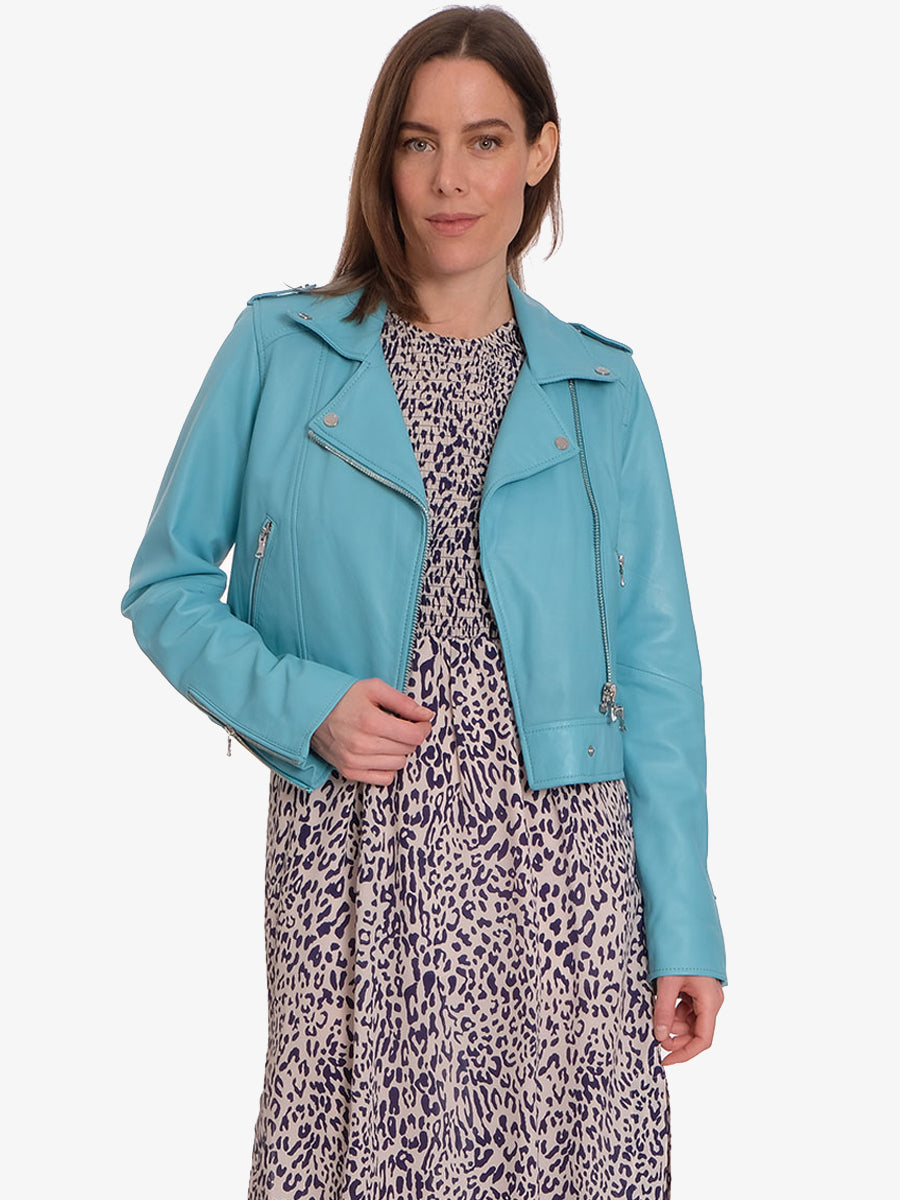 YOKO LEATHER BIKER JACKET - TURQUOISE