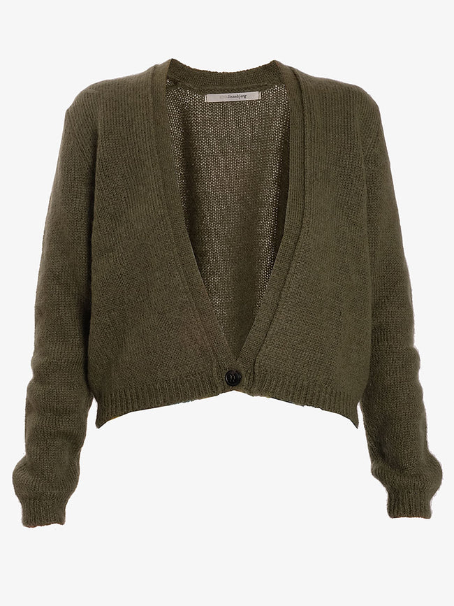 CELINE CROP CARDIGAN - ARMY GREEN