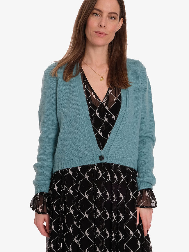 CELINE CROP CARDIGAN - DARK MINT