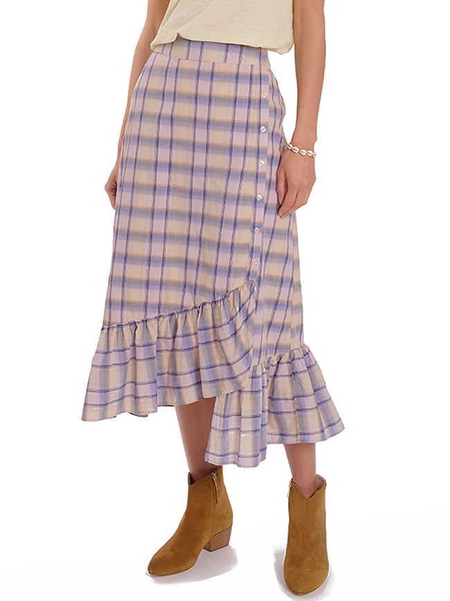 FRO CHECKED FRILL HEM SKIRT