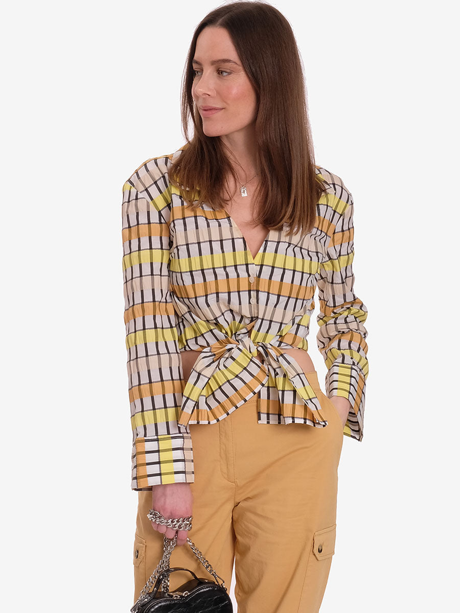 MERONA CROPPED TIE FRONT SHIRT - PEACH YELLOW BLACK CHECK