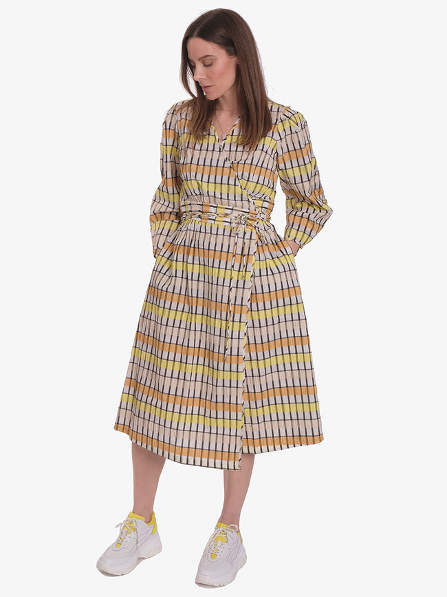 ABYLENE WRAP DRESS - PEACH YELLOW BLACK CHECKS