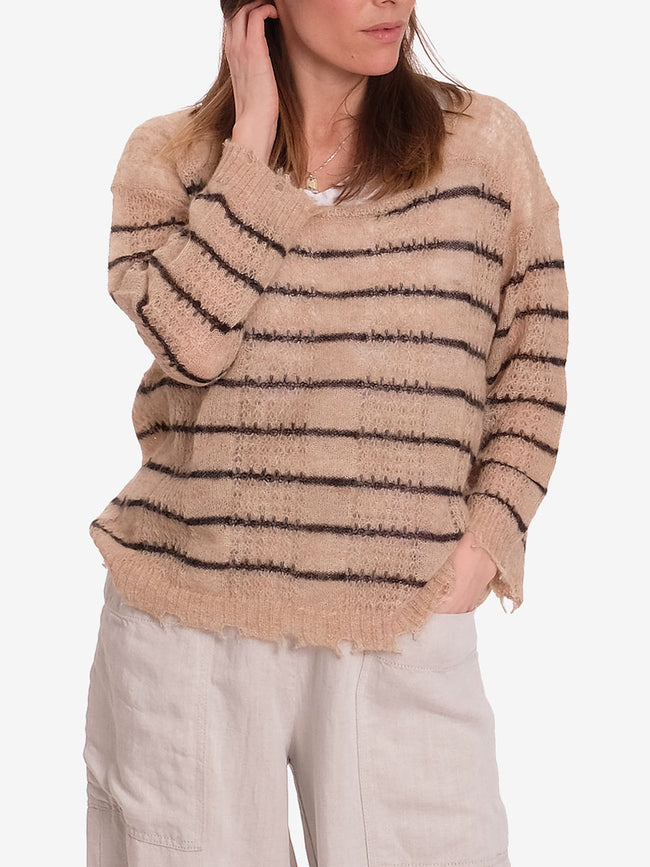 BILLE OPEN KNIT JUMPER - BABY PINK FINE STRIPE