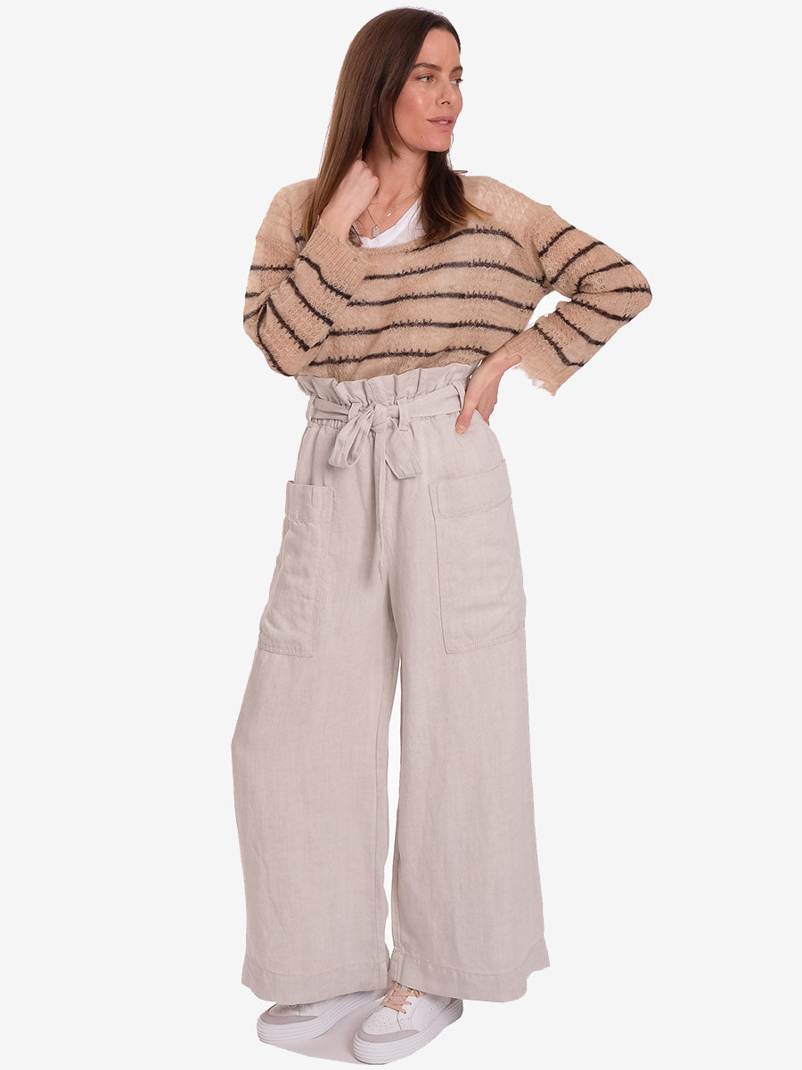 MANZ PAPERBAG TROUSERS - WARM WHITE