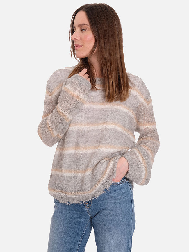 BARCELONA OPEN KNIT JUMPER - GREY BOLD STRIPE
