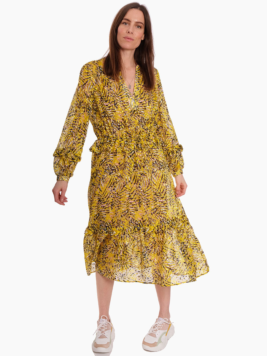 GAZELLA RUFFLE HEM DEVORE DRESS - SULPHUR
