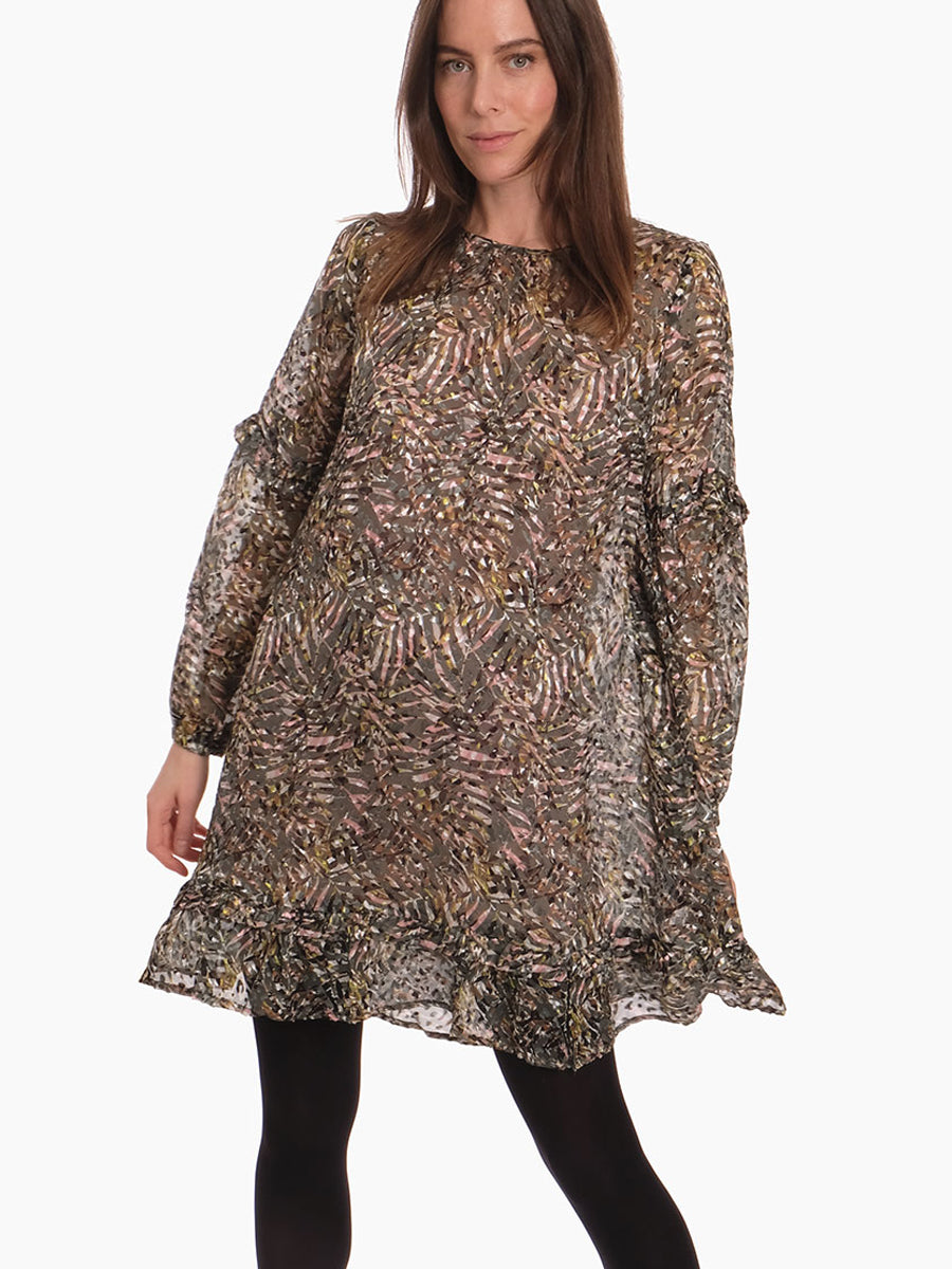 GWYNETH PRINTED DEVORE DRESS - ARMY
