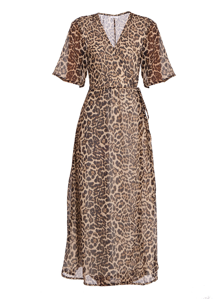 LEA LEOPARD WRAP DRESS