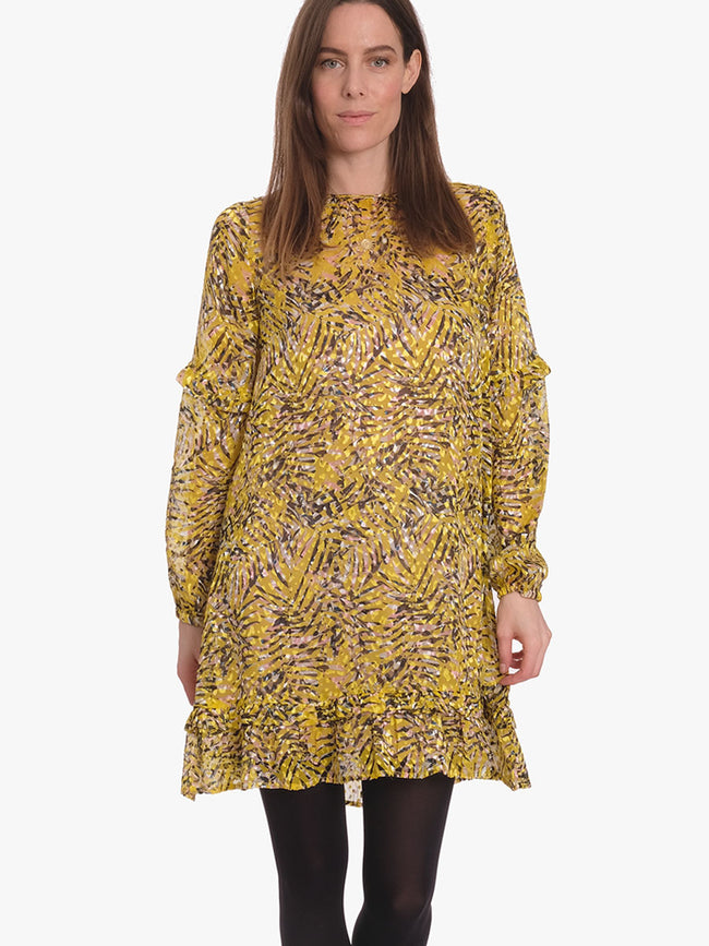 GWYNETH PRINTED DEVORE DRESS - SULPHUR