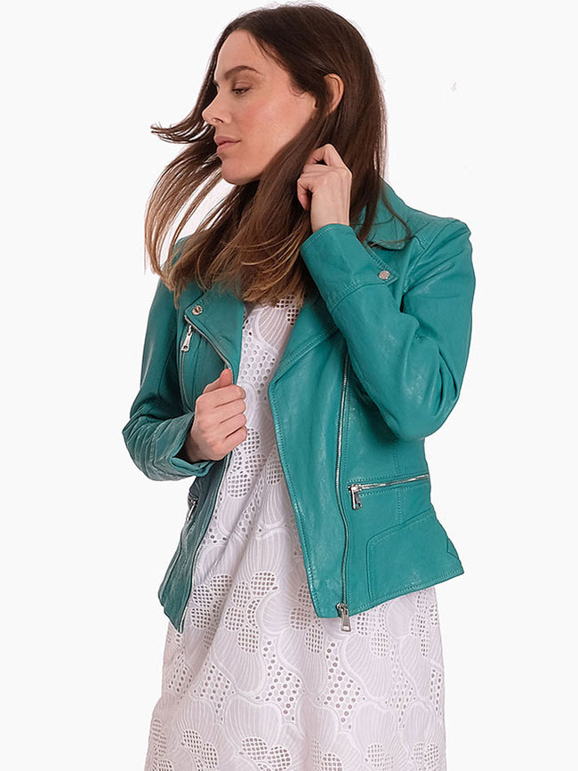 CAMERA LEATHER BIKER JACKET - EMERALD