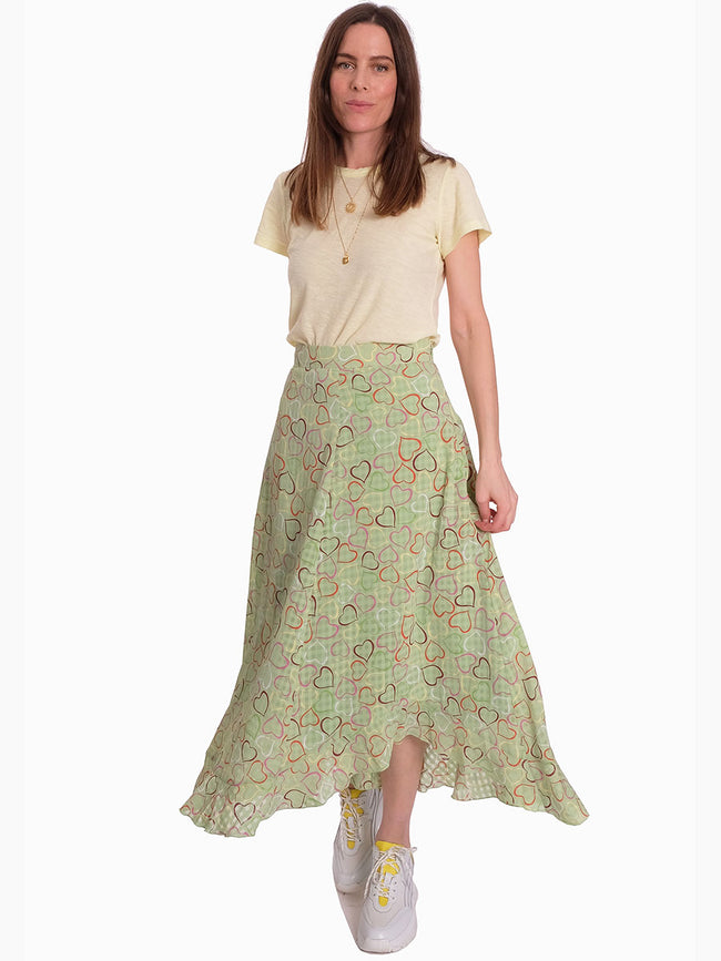 MARIGOLD ASYMMETRIC MIDI SKIRT - HEARTS GREEN