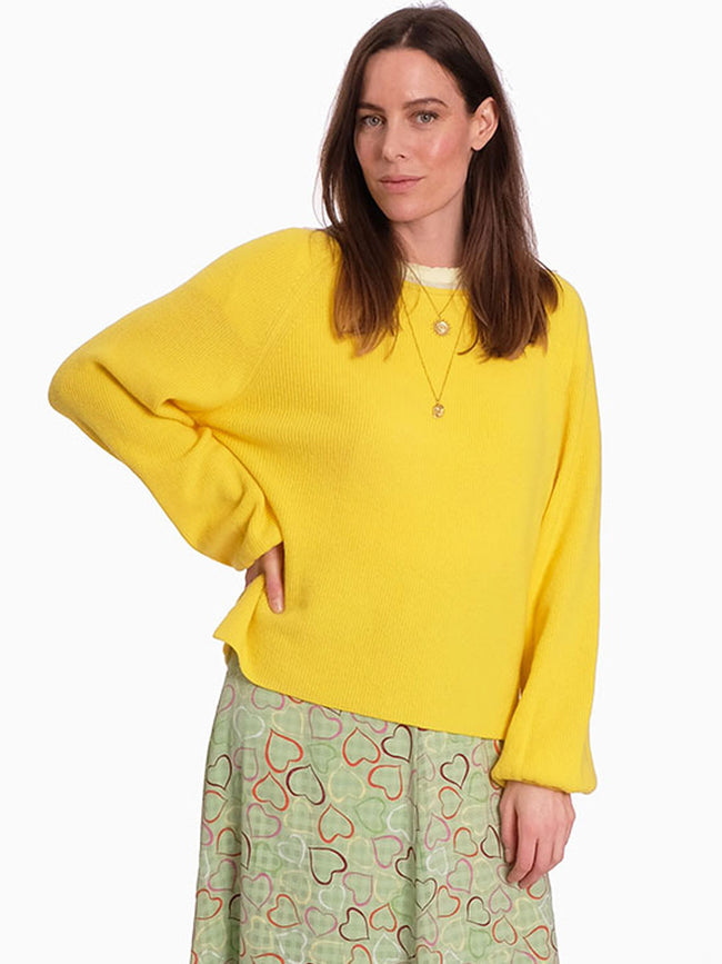 BROOKLYN BALLOON SLEEVE JUMPER - YELLOW