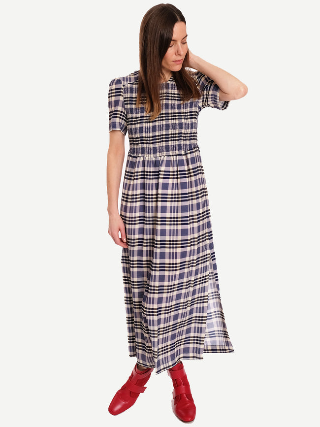 ADAMARIS SMOCK DRESS - WHITE NAVY CHECK