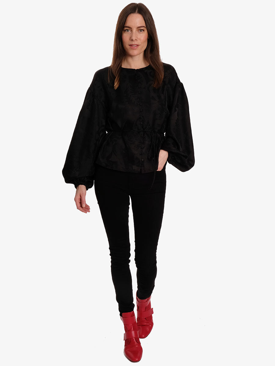 SAHARA BALLOON SLEEVE TOP - BLACK LACE