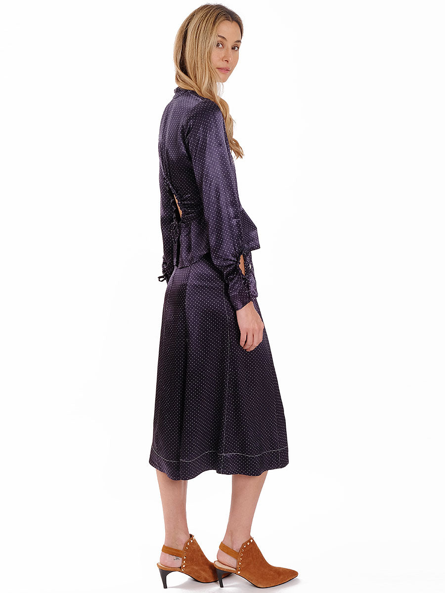 HEAVY SATIN SKIRT - NAVY
