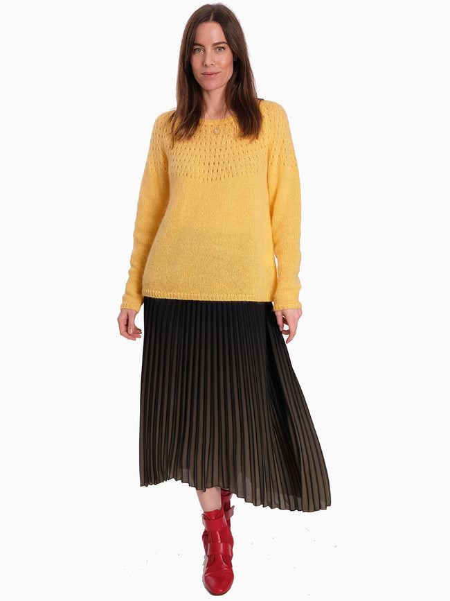 NALA EYELET KNIT JUMPER - YELLOW