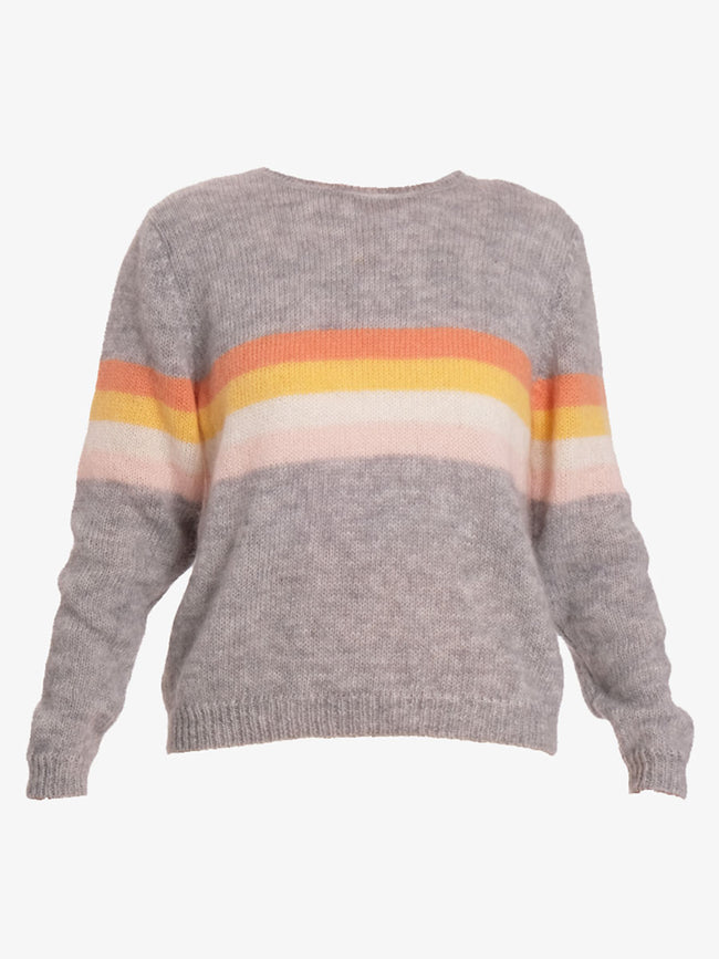 SKY WIDE STRIPE JUMPER - SWEAT GREY