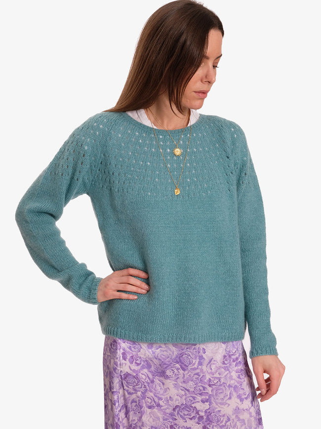 NALA EYELET KNIT JUMPER - DARK MINT