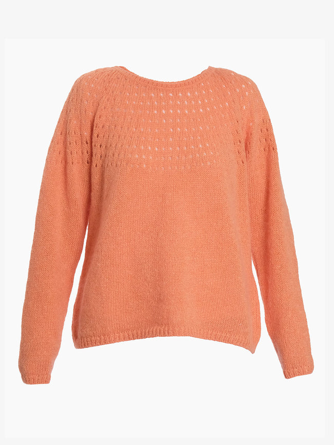 NALA EYELET KNIT JUMPER - LIGHT ORANGE