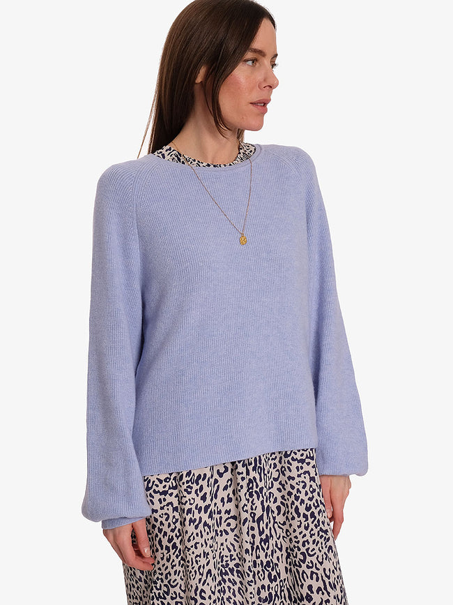 BROOKLYN BALLOON SLEEVE JUMPER - LIGHT DENIM BLUE