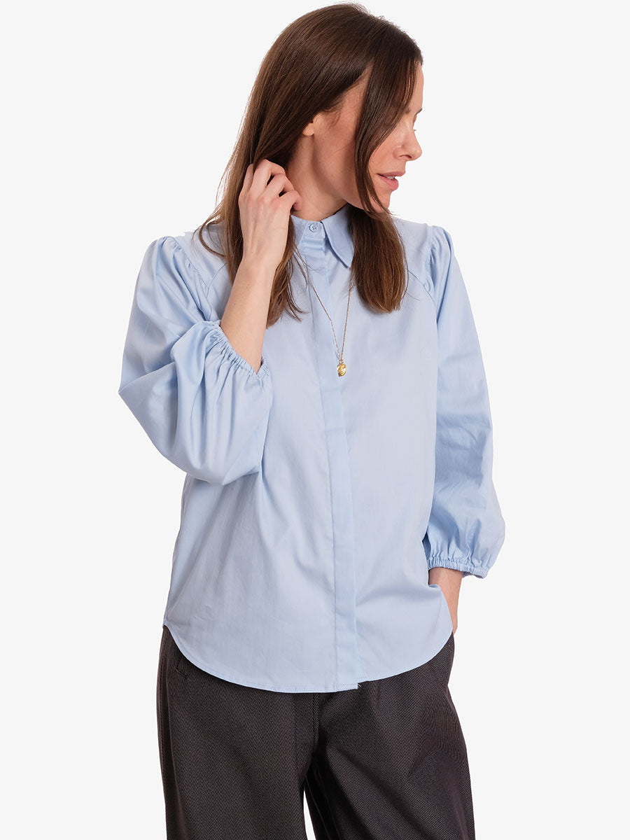 ISLA PUFF SLEEVE SHIRT - SKY BLUE