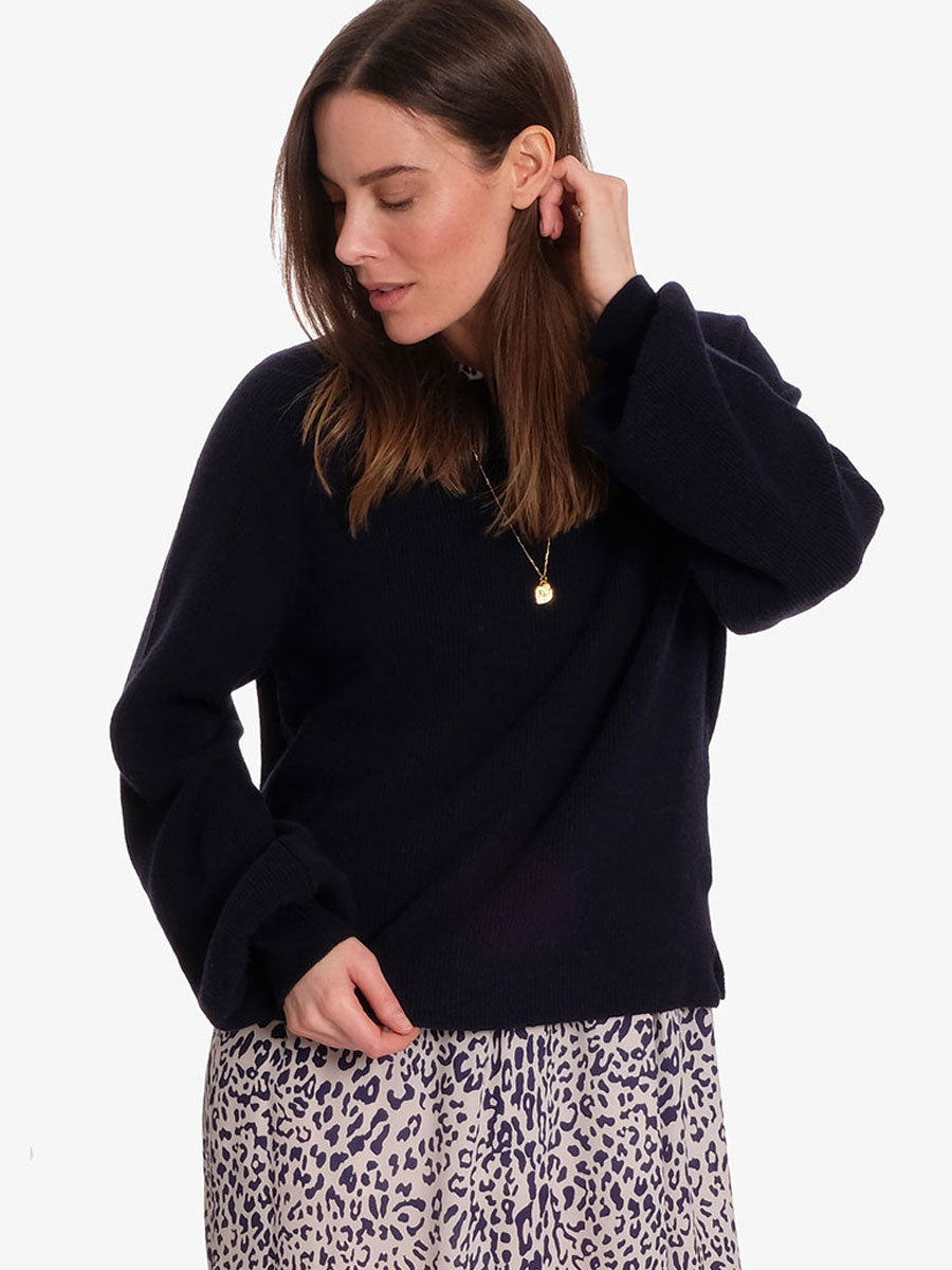 BROOKLYN BALLOON SLEEVE JUMPER - NAVY