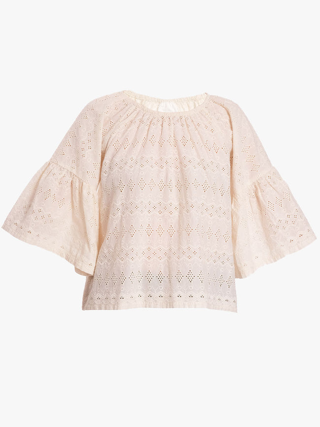 CARMEN BRODERIE TOP - CHALK