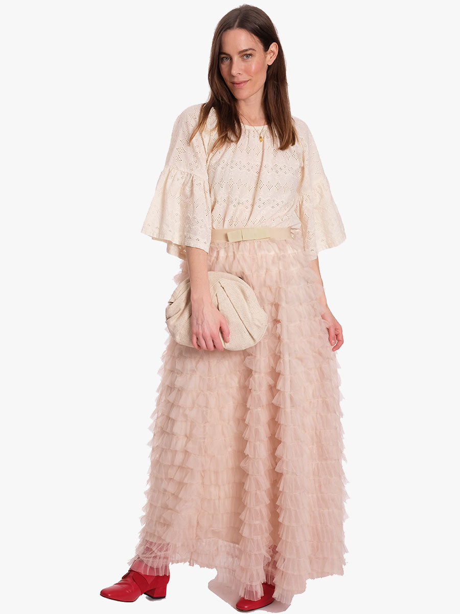 FRILL TULLE SKIRT - CREAM