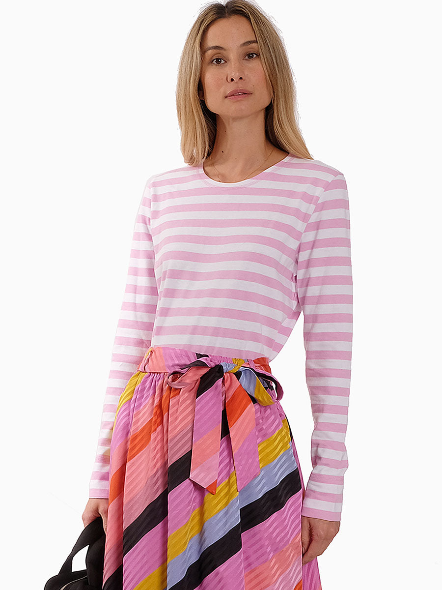 STRIPED JERSEY PULLOVER PINK/WHITE