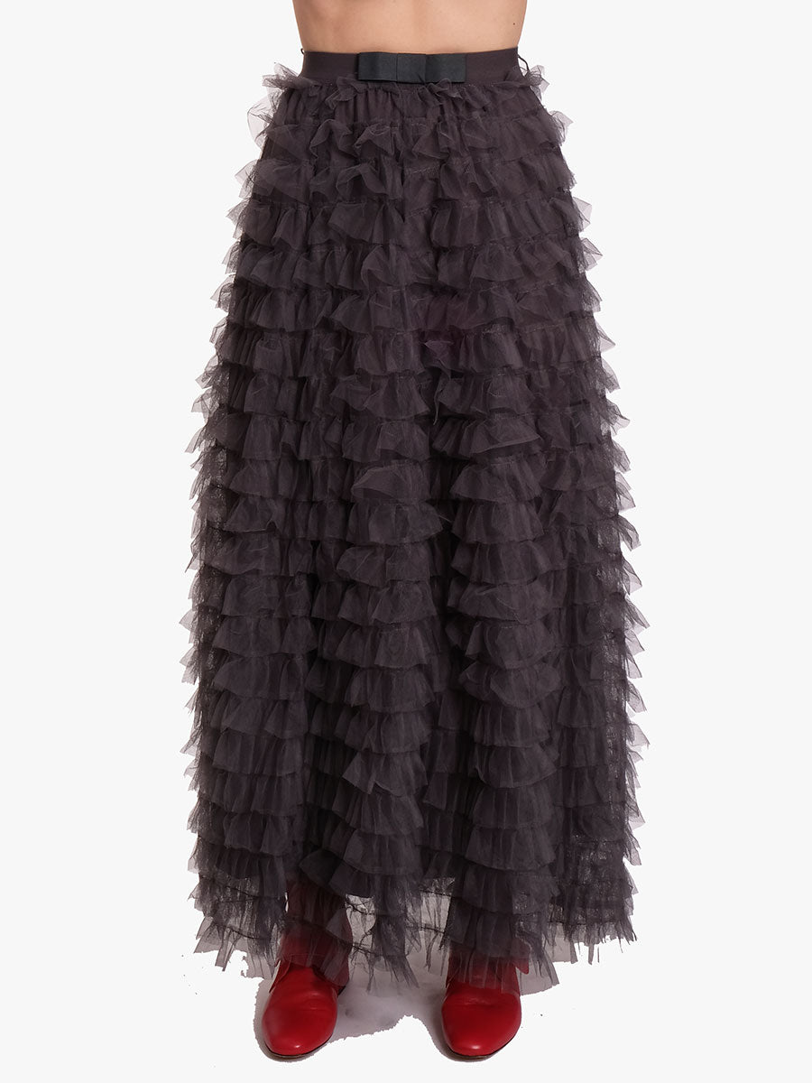 FRILL TULLE SKIRT - GREY