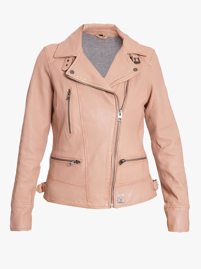 VIDEO LEATHER BIKER JACKET - NUDE