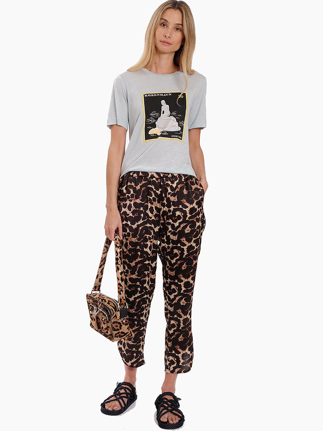 ANNA LEO PRINTED SATEEN TROUSERS