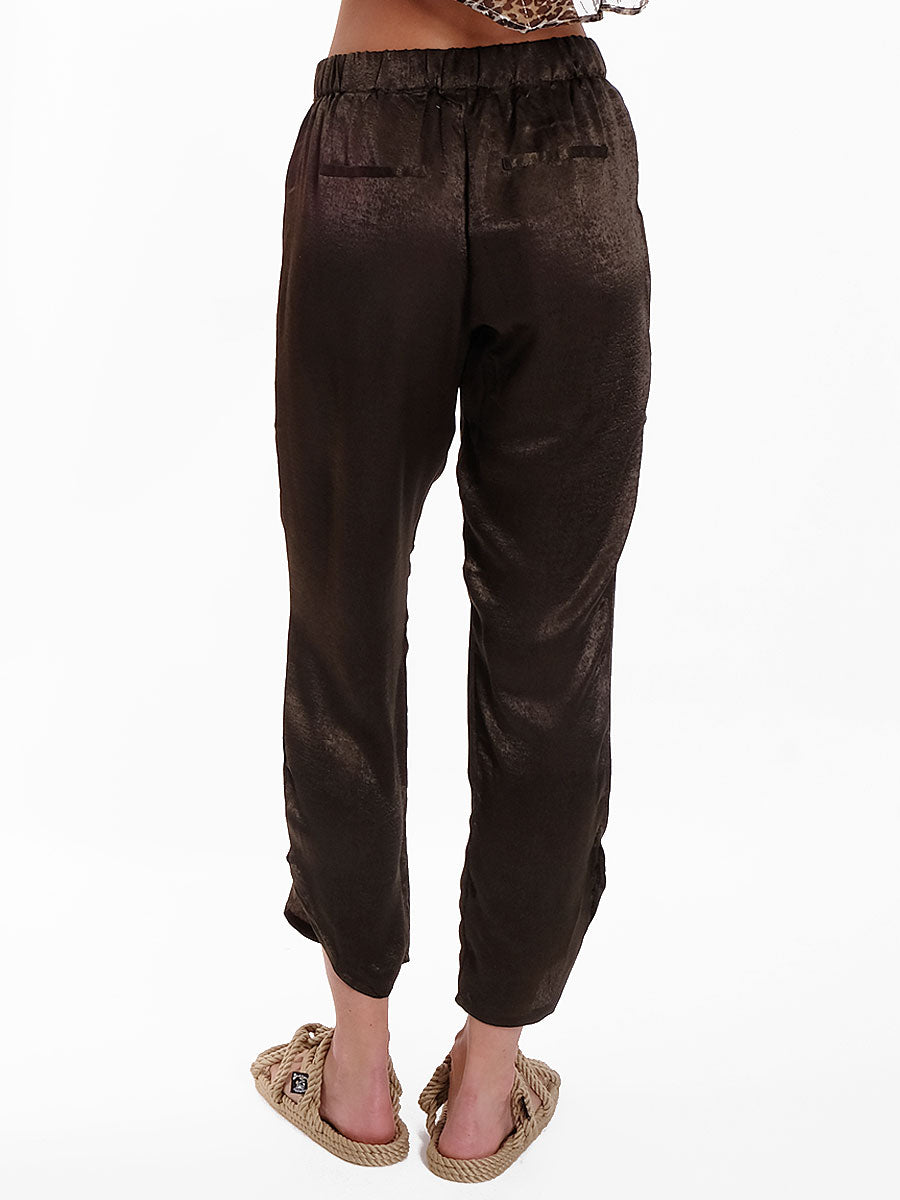 ANNA DARK GREEN SATEEN PANTS