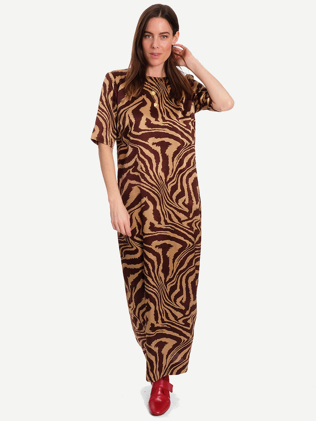 SILK STRETCH SATIN MAXI DRESS - TANNIN