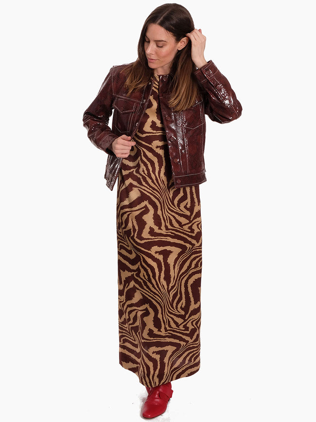 SNAKE FOIL LEATHER JACKET - DECADENT CHOCOLATE