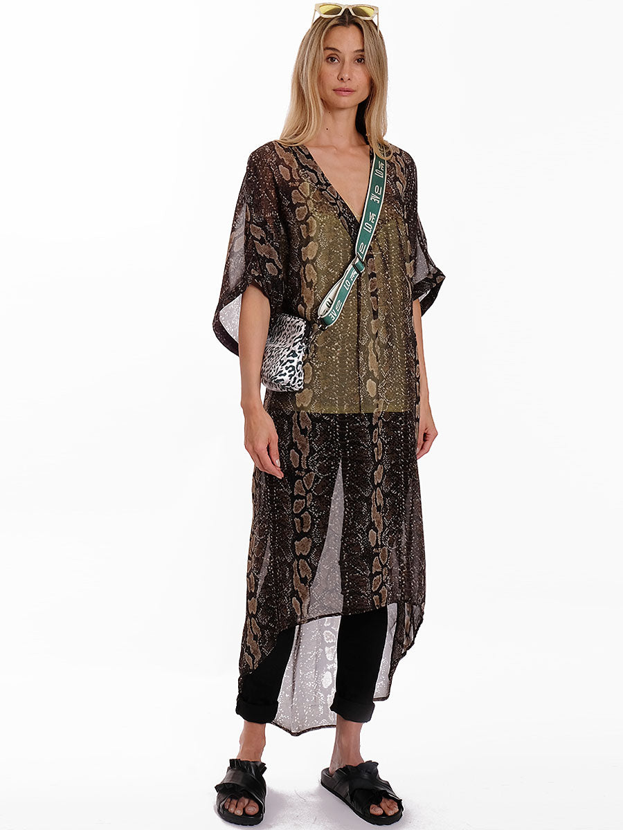 SHELEEN PRINTED MAXI KAFTAN DRESS - SNAKE