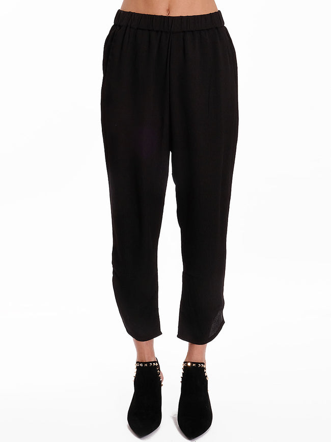 ANNA BLACK CREPE TROUSERS