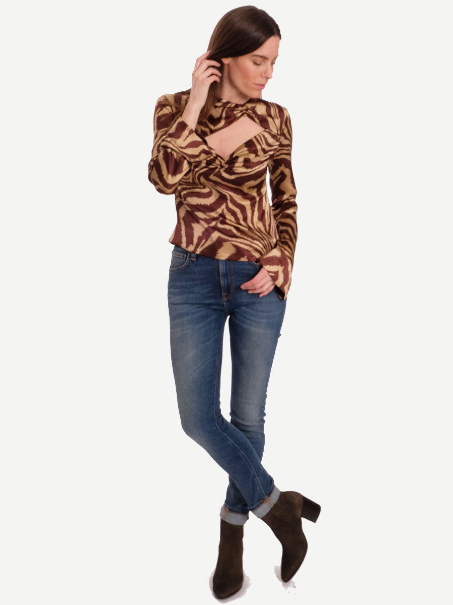 SILK STRETCH SATIN BLOUSE - TANNIN
