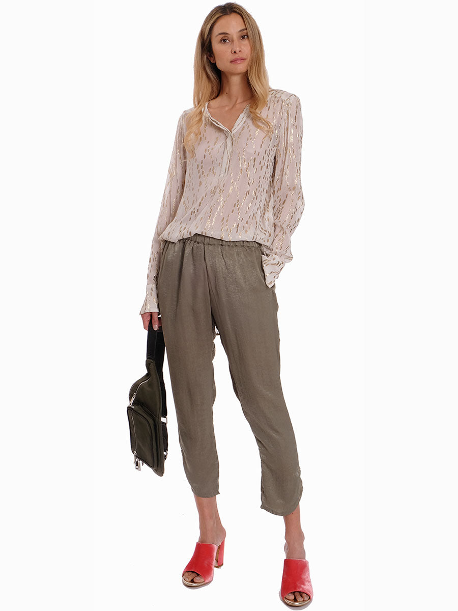 ANNA GREEN SATEEN TROUSERS