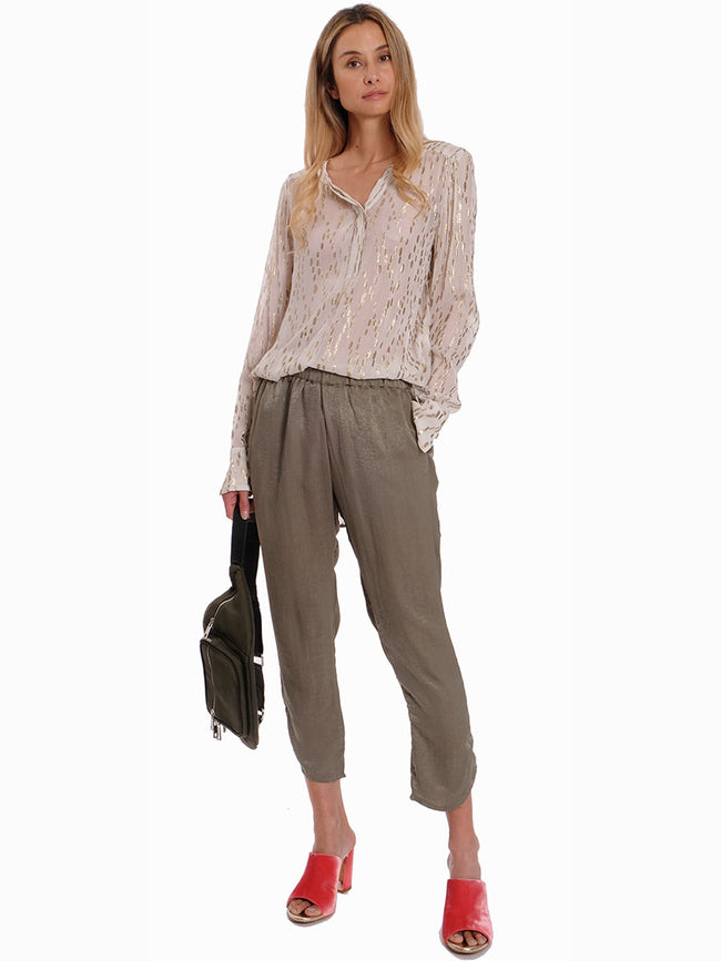 ANNA GREEN SATEEN PANTS