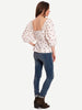 PRINTED COTTON POPLIN PUFF SLEEVE TOP - EGRET
